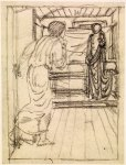 Edward Burne-Jones (Edward Burne Jones) (1833-1898)  Pygmalion and the Image - Study for Pygmalion seeing the Image come to Life  Pencil on tracing paper, laid down, 1867  110 mm x 84 mm  Birmingham Museums and Art Gallery, Birmingham, United Kingdom